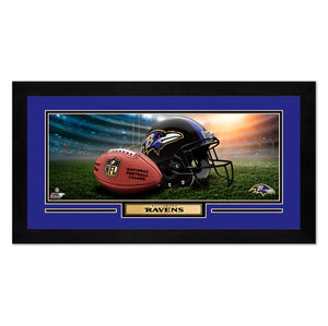 Baltimore Ravens Print 13x7 Framed Helmet in Stadium Design