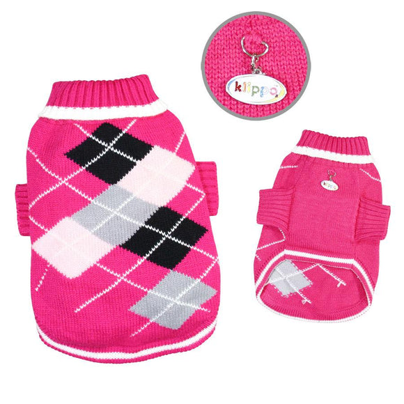 Argyle Pattern Turtleneck Sweater (Hot Pink)