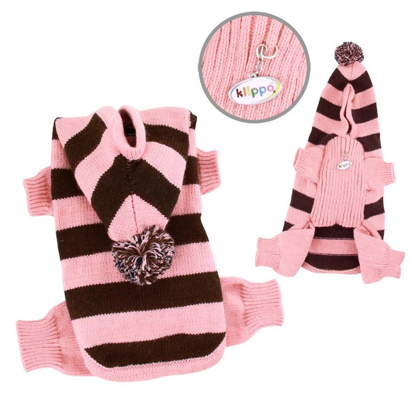 Stripy Bodysuit with Long Hoodie and Pompom