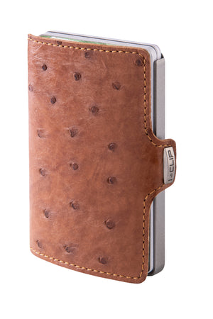 Ostrich Leather (Body) - Caramel / Metallic Gray Frame - I-CLIP