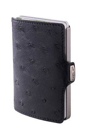 Ostrich Leather (Body) - Black / Metallic Gray Frame - I-CLIP