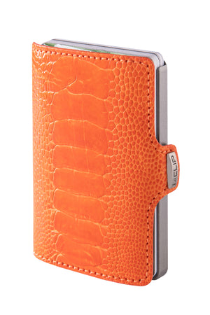Ostrich Leather (Leg) - Coral Orange / Metallic Gray Frame - I-CLIP