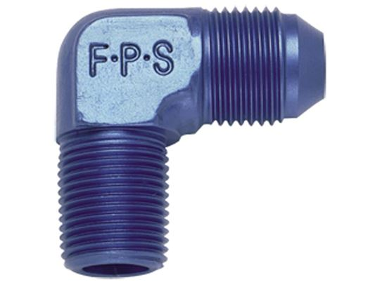 Fragola Aluminum AN Adapters - 90º Elbow Flare To Pipe - Blue