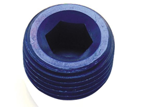 Fragola Aluminum AN Adapters - MPT Allen Head Plugs - Blue/Black