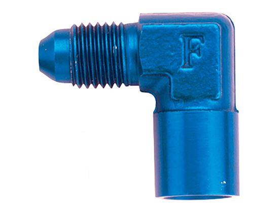 Fragola Aluminum Adapters - AN Male x Female Pipe Thread - 90 Degree - Blue/Black