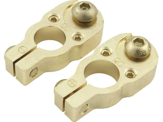 Quickcar Battery Terminals Top-Mount Gold Plated Brass