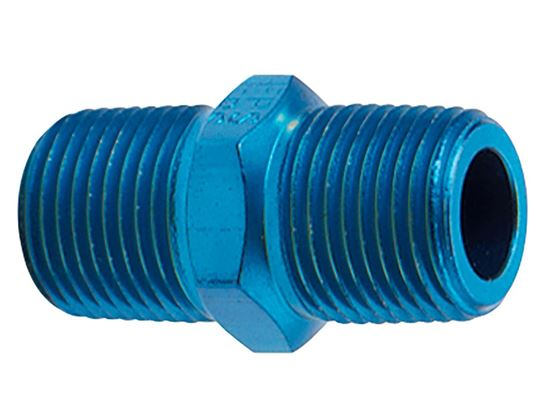 Fragola Aluminum AN Adapters - Male Pipe Nipples - Blue/Black