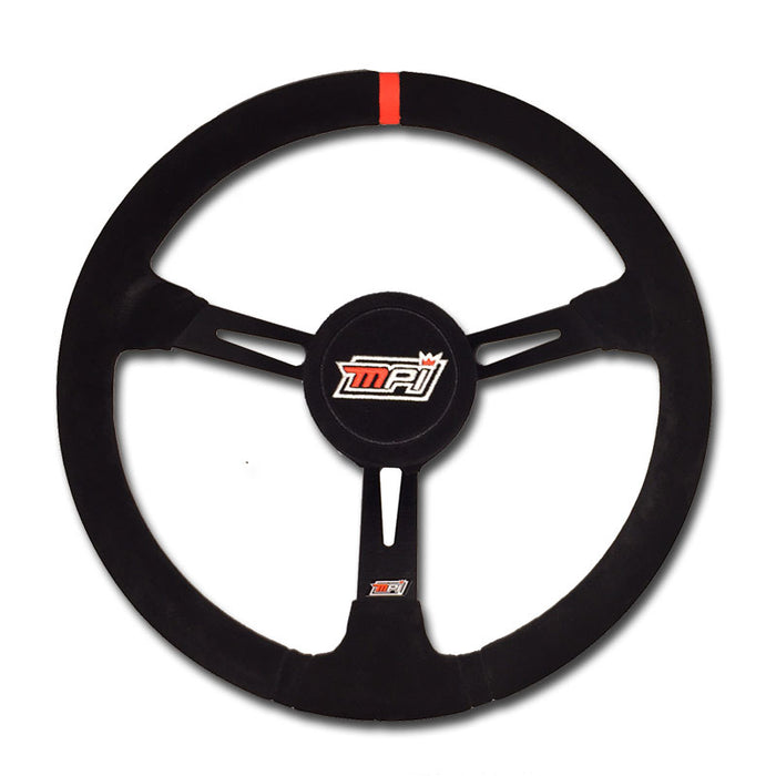 "MPI - Late Model Steering Wheel - 15"" w/ Suede Grip, Aluminum + Center Pad"