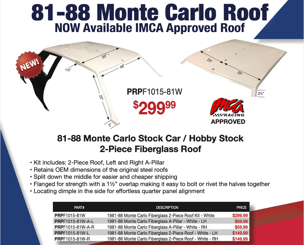 81-88 Monte Carlo 2-Piece Fiberglass Roof Kit