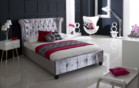 Epsilon Crushed Ice Velvet Bed