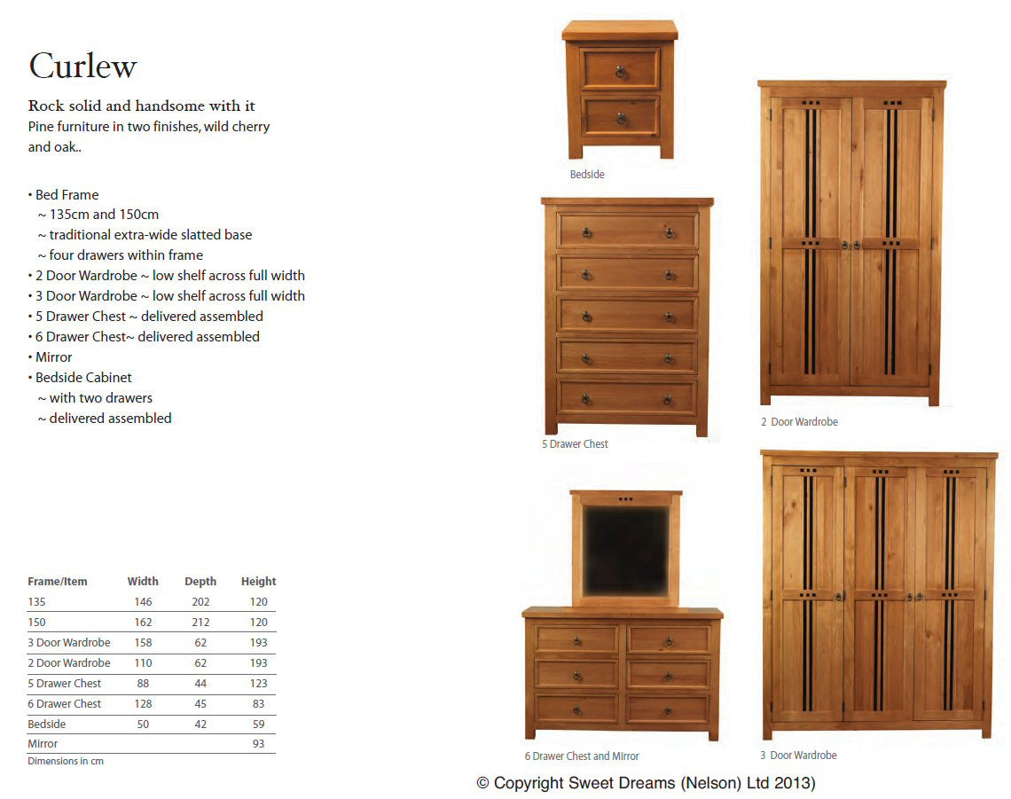 Pine Effect Bedroom Furniture Curlew Pine Wooden Furniture Finished In Oak Effect Bed E Buys