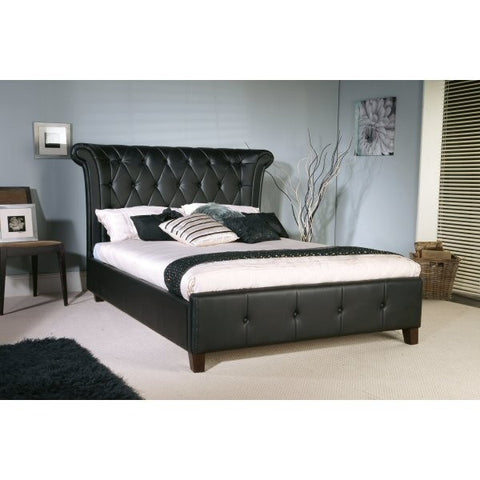 Epsilon Black Faux Leather Bed