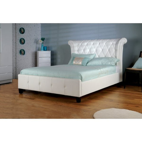 Epsilon White Faux Leather Bed
