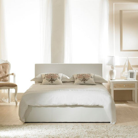 Madrid White Faux Leather Storage Bedstead