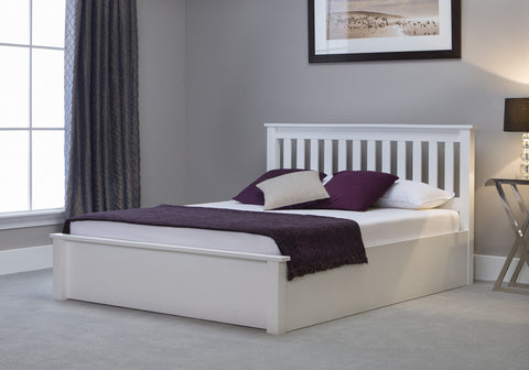 Freya Solid Wood White Storage Bedstead