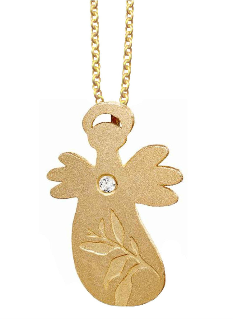 Leaf Angel pendant - Gold-plated silver/zirkonia