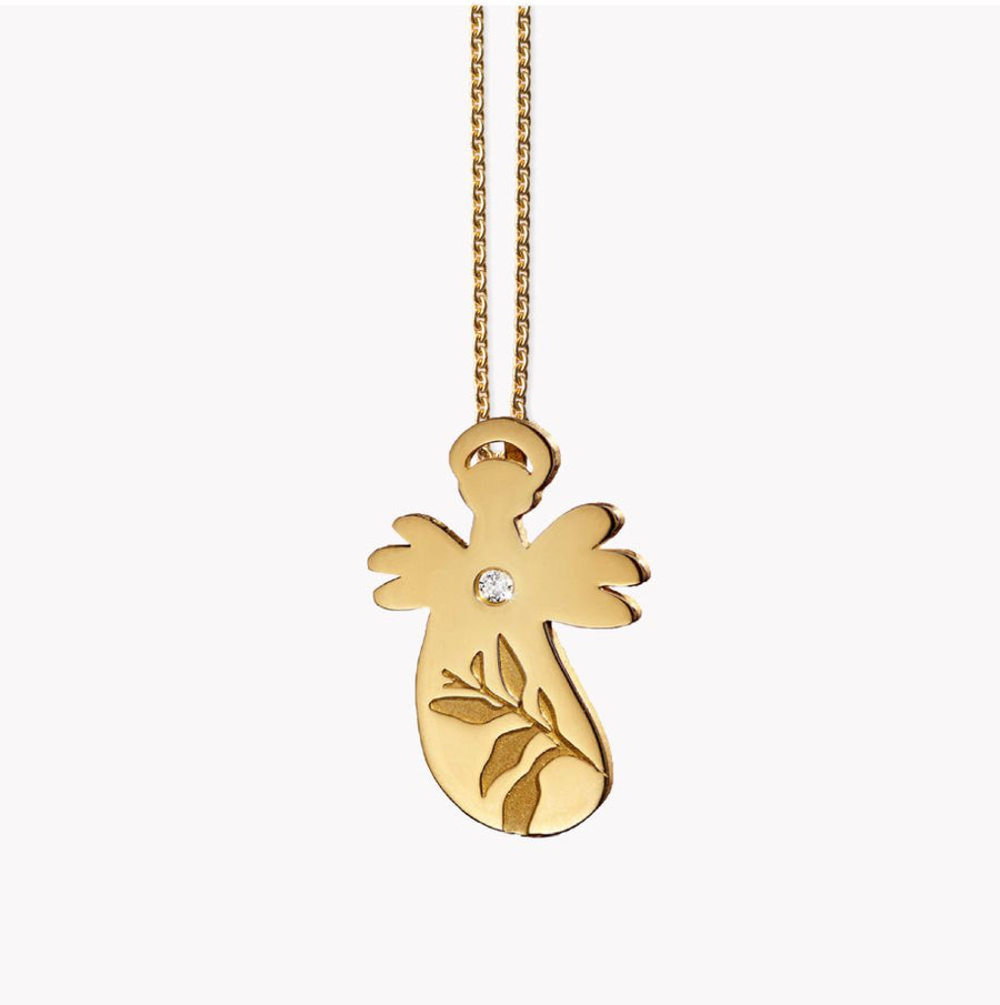 Leaf Angel pendant. 14ct Gold/Diamond