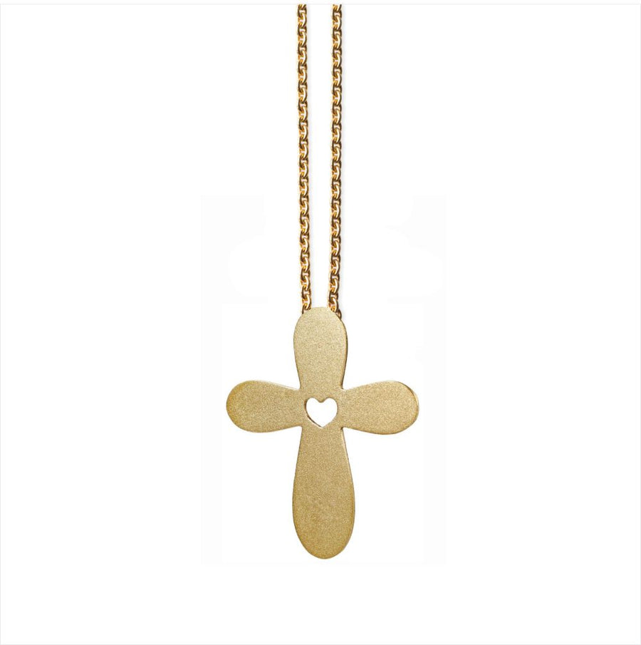 Cross Pendant - Gold-plated silver. Mat
