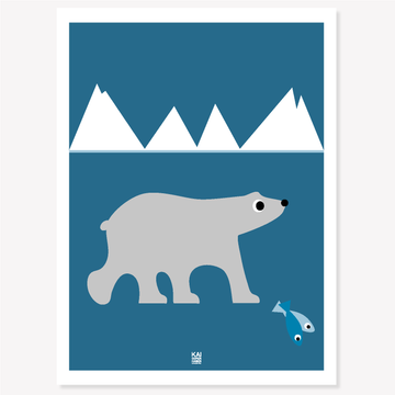 Polar Bear poster/blue