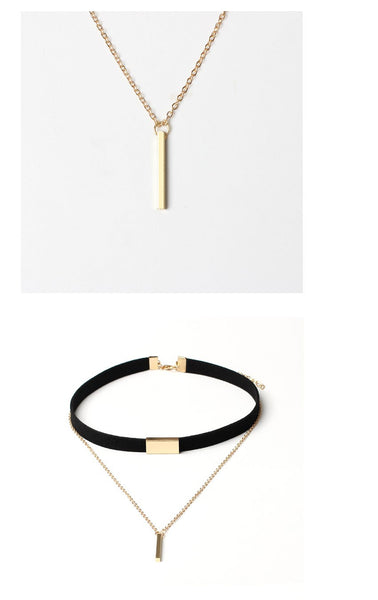 Velvet Choker Necklace Gold Chain