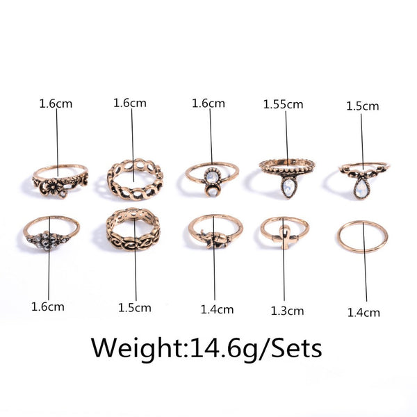 10pcs/Set Unique Carved Antique Silver Crystal Knuckle Rings for Women  Boho Beach Jewelry