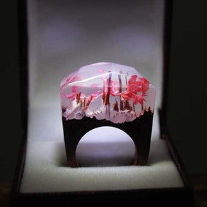 Wooden Rings with Miniature Landscape Worlds Inside Resin Enclosure