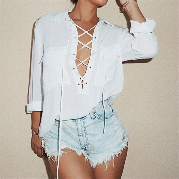 Turn Down Collar Chiffon Shirt - Deep V Front Lace Up Long Sleeve Blouse Size S-3XL
