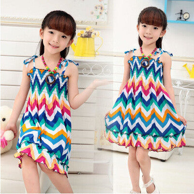 Bohemian style dress for girls Knee-length girls beach dresses WITH necklace
