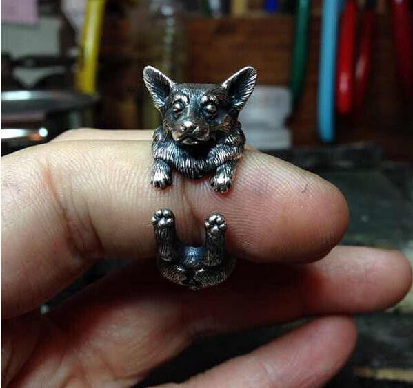 Vintage Silver Black Bronze Boho Chic Welsh Corgi Dog Ring - Store4Deals