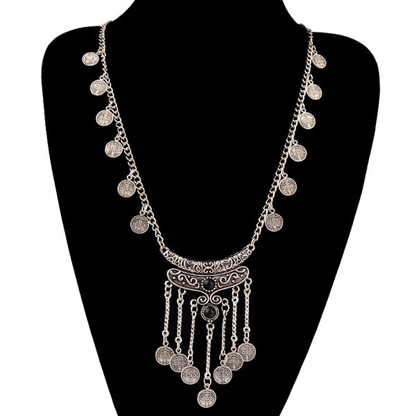 FREE Gypsy Boho Antique Silver Tassels Long Carving Coin Necklace