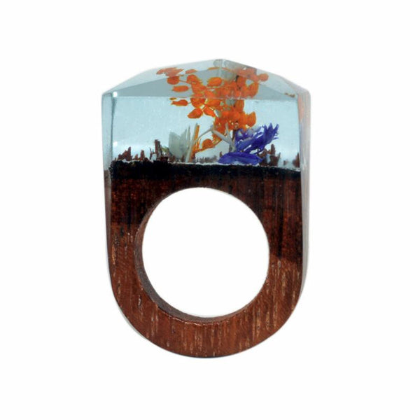 Flower Forest Creative Rings. Wooden Resin Handmade Rings
