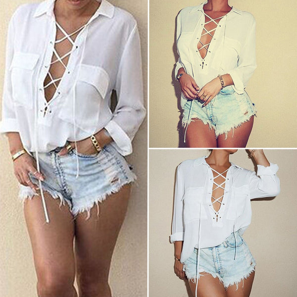 Turn Down Collar Chiffon Shirt - Deep V Front Lace Up Long Sleeve Blouse Size S-3XL - Store4Deals