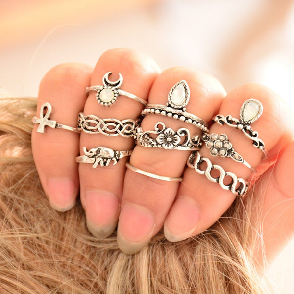 10pcs/Set Unique Carved Antique Silver Crystal Knuckle Rings for Women  Boho Beach Jewelry - Store4Deals