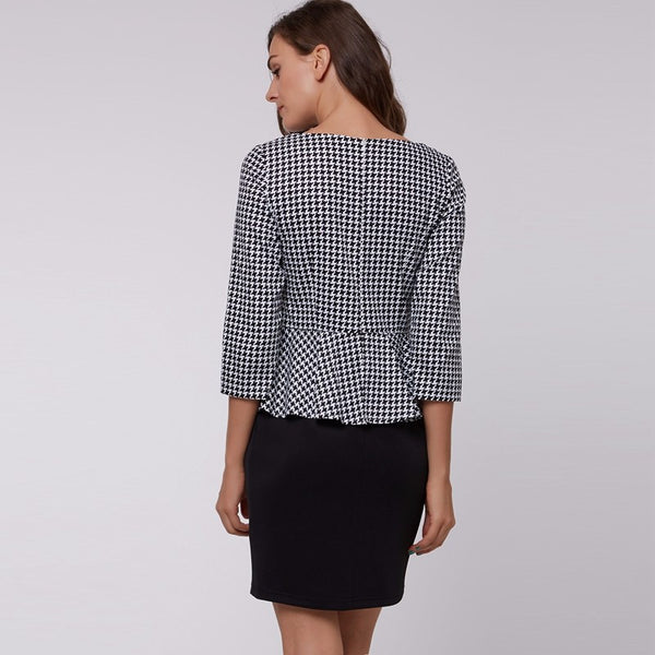 Houndstooth design short dress for work