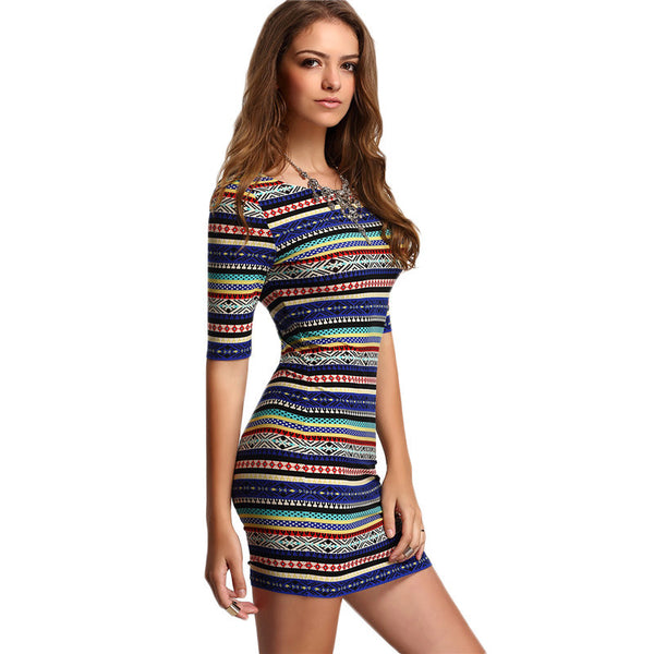 Multicolor Vintage Print Round Neck Half Sleeve Bodycon Dress