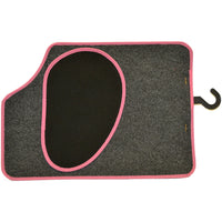 Set of Four Dark Grey Car Mats - pink edging