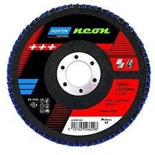 "115mm (4 1/2"") Norton Neon Zirconia Flap Disc Pack of 10"