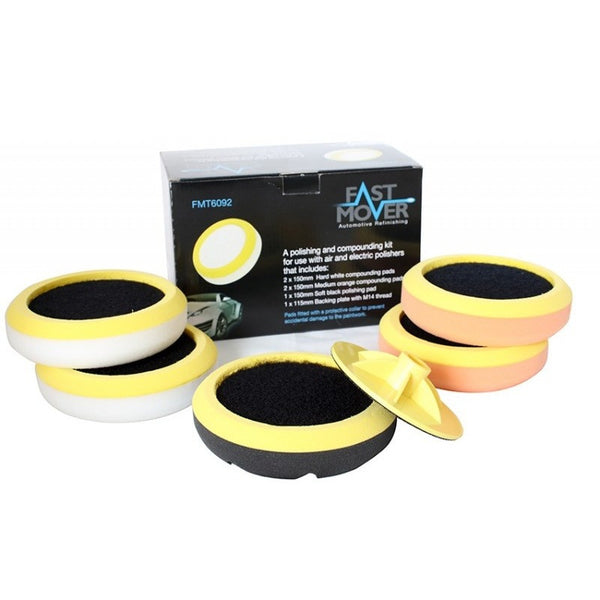 Compounding & Polishing Pad Kit With Protective Collars 150mm