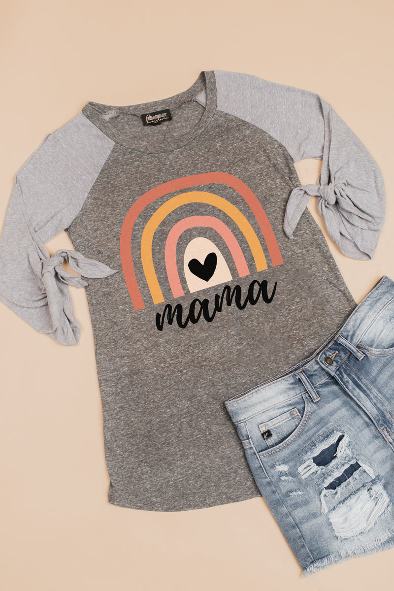 "The ""Mama"" Tie Sleeve Raglan - Gameday Couture"