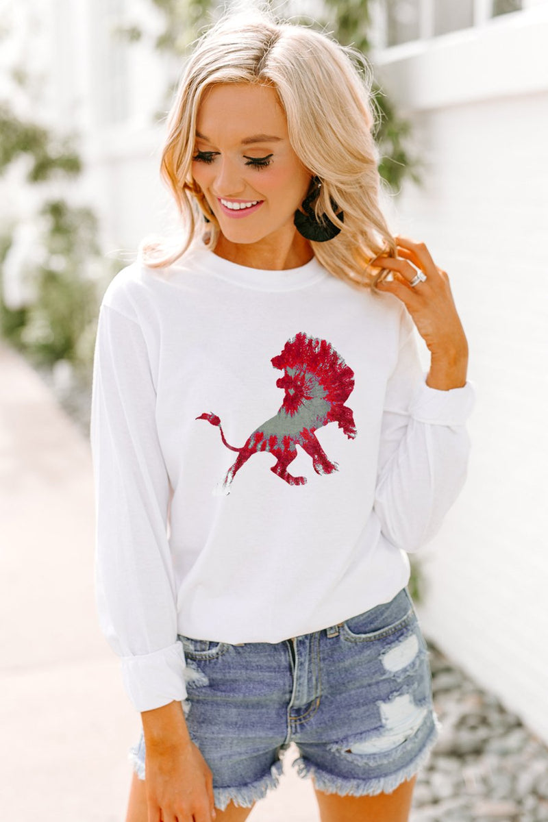"The ""Lions"" Tie Dye Varsity Crew - Gameday Couture"