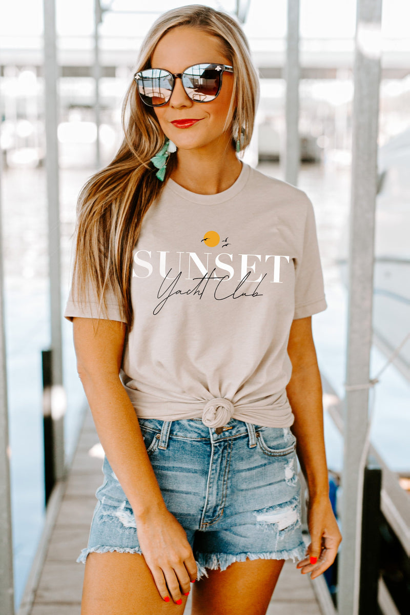 "The ""Sunset Yacht Club"" Boyfriend Tee - Gameday Couture"