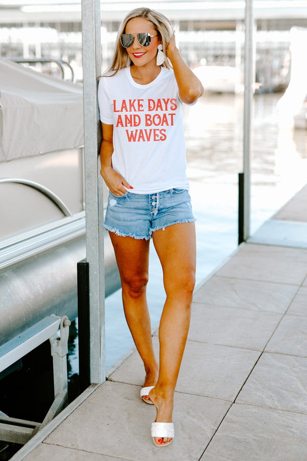"The ""Lake Days and Boat Waves"" Boyfriend Tee"
