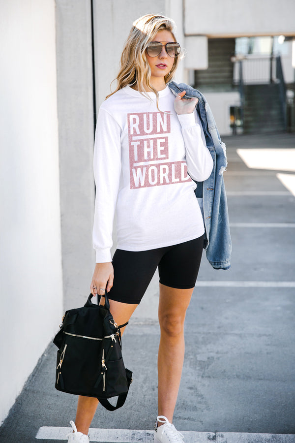 "The ""Run The World""  Luxe Boyfriend Long Sleeve Tee - Gameday Couture"