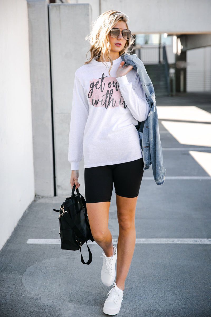 "The ""Get On With It"" Luxe Boyfriend Long Sleeve Tee - Gameday Couture"