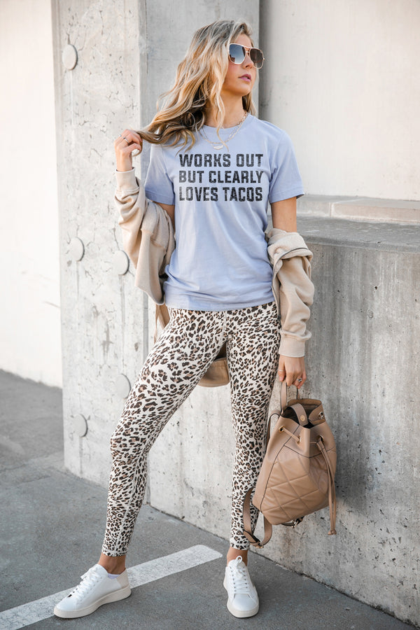 "The ""Works Out But Clearly Loves Tacos"" Luxe Boyfriend Short Sleeve Crew - Gameday Couture"