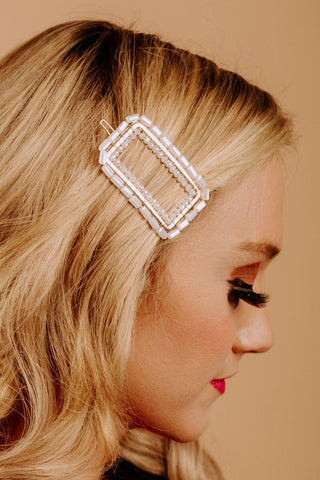"The ""Adore Me"" Hair Clip in White"