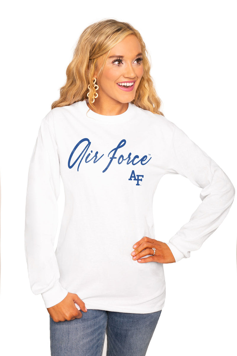 "AIR FORCE FALCONS ""WIN THE DAY"" Luxe Boyfriend Crew Tee - Gameday Couture"