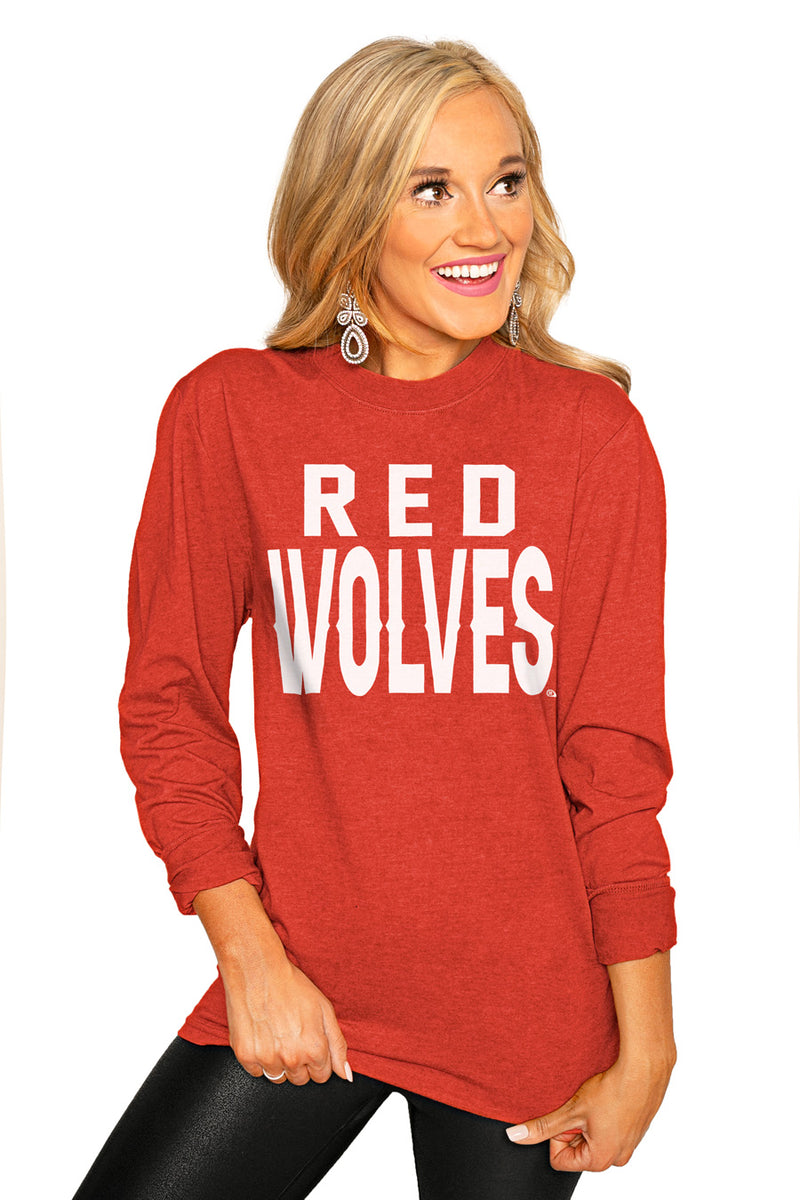 "Arkansas State Red Wolves ""Go For It"" Luxe Boyfriend Crew Tee - Gameday Couture"