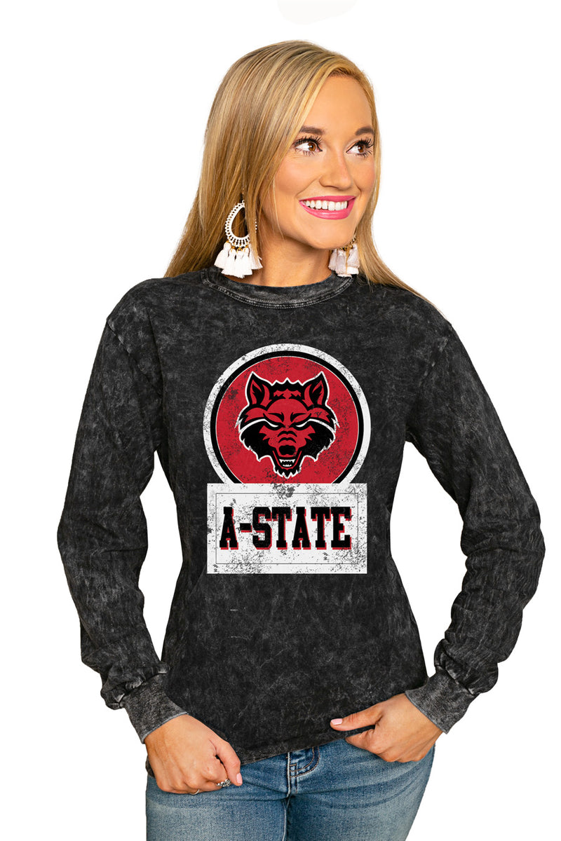 "ARKANSAS STATE RED WOLVES ""GOOD VIBES"" RETRO MINERAL WASH CREW - Gameday Couture"