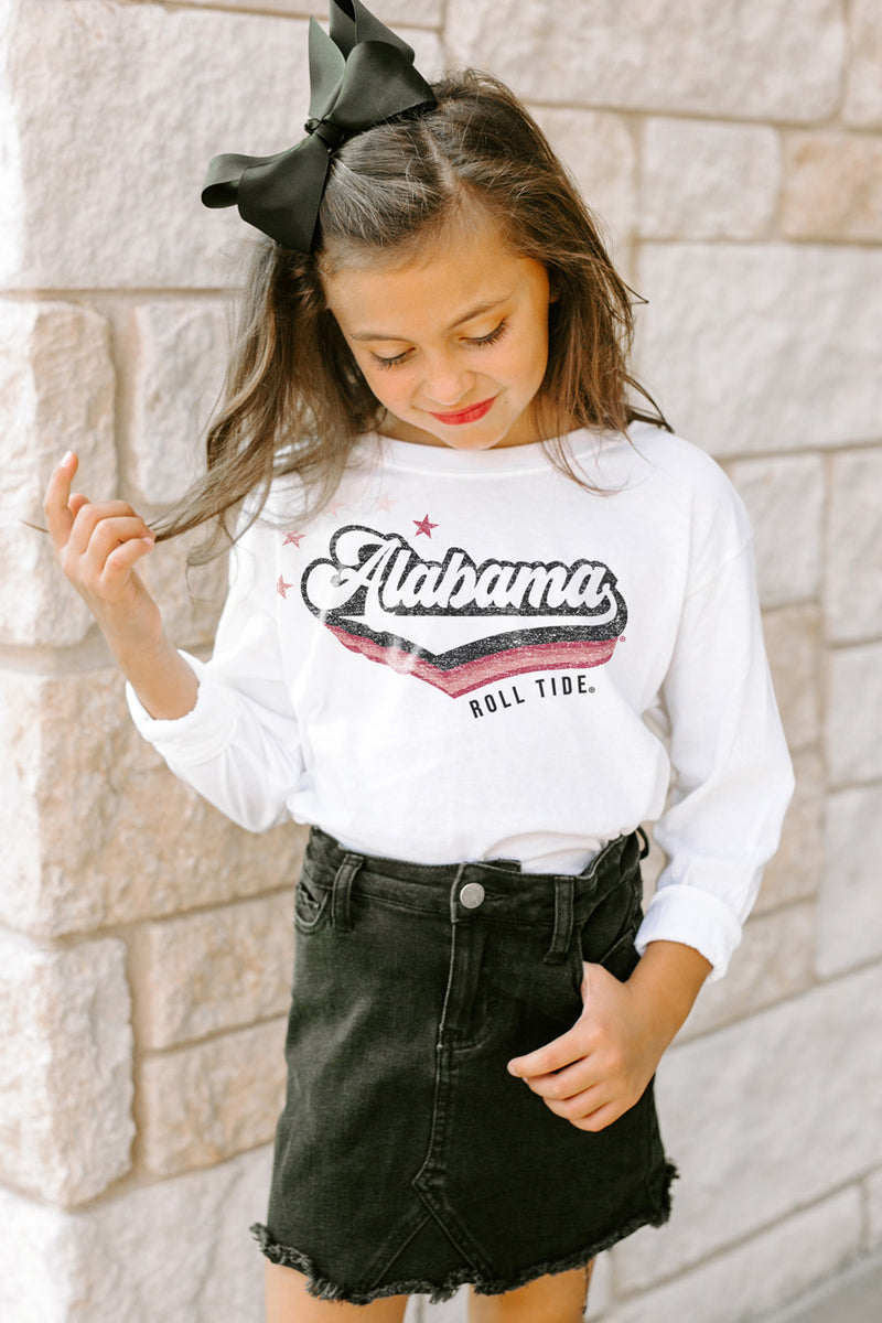 "Alabama Crimson Tide ""Vivacious Varsity Star"" Long Sleeve Youth Tee - Gameday Couture"